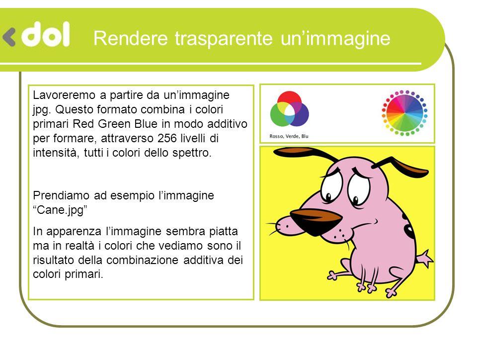 Rendere trasparente unimmagine Lavoreremo a partire da unimmagine jpg. Questo formato combina i colori primari Red Green Blue in modo additivo per for