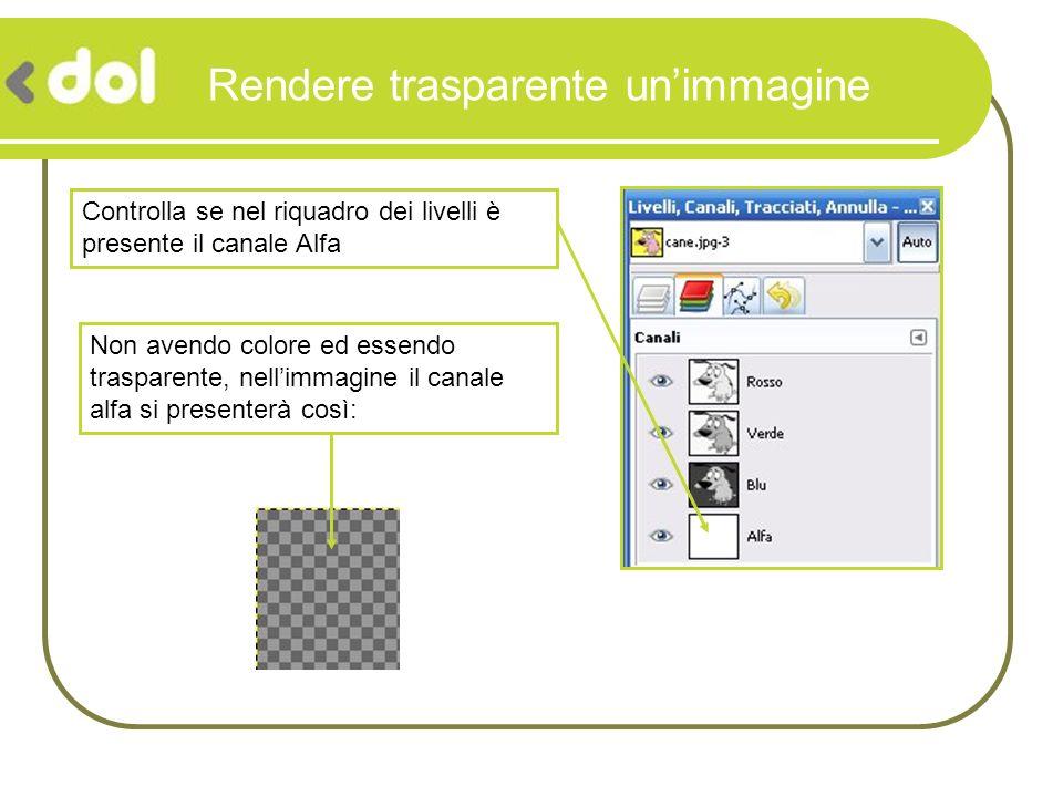 Rendere trasparente unimmagine Controlla se nel riquadro dei livelli è presente il canale Alfa Non avendo colore ed essendo trasparente, nellimmagine