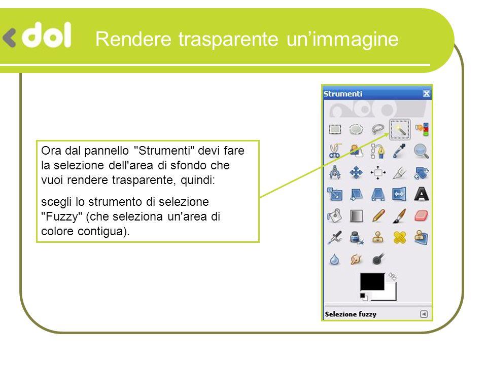 Rendere trasparente unimmagine Fai clic sul colore di sfondo e poi premi il tasto canc: ora l area selezionata dovrebbe risultare un insieme di quadratini grigi.