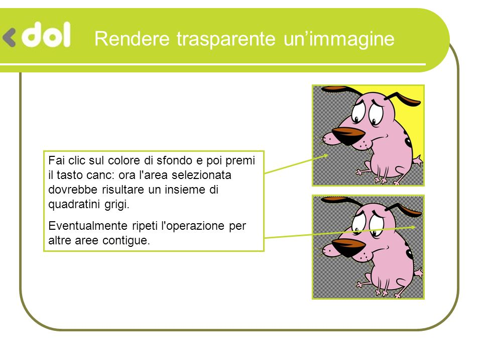 Rendere trasparente unimmagine Ora non ti resta che salvare limmagine in formato Gif (che supporta la trasparenza) e il gioco è fatto!