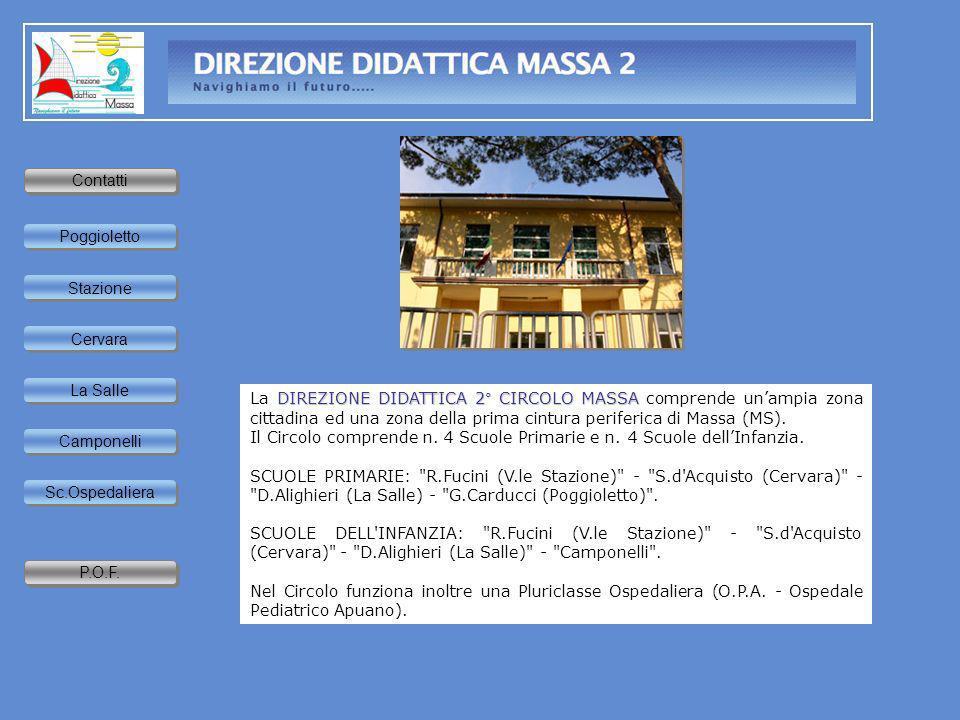Home page DIREZIONE DIDATTICA 2° CIRCOLO MASSA La DIREZIONE DIDATTICA 2° CIRCOLO MASSA comprende unampia zona cittadina ed una zona della prima cintur