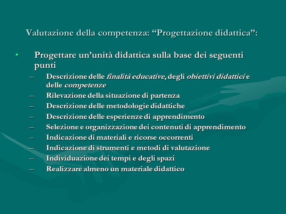 Valutazione della competenza: Progettazione didattica: Progettare ununità didattica sulla base dei seguenti puntiProgettare ununità didattica sulla ba