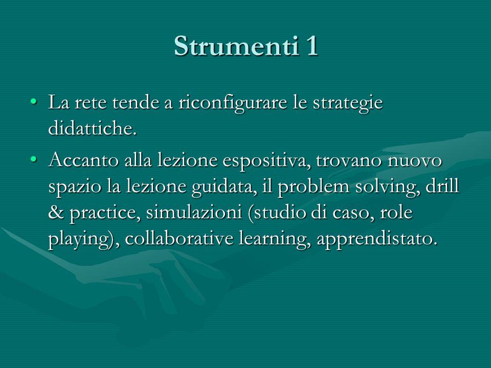 Strumenti 1 La rete tende a riconfigurare le strategie didattiche.La rete tende a riconfigurare le strategie didattiche. Accanto alla lezione espositi