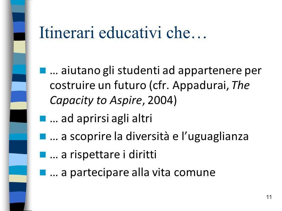 11 Itinerari educativi che… … aiutano gli studenti ad appartenere per costruire un futuro (cfr. Appadurai, The Capacity to Aspire, 2004) … ad aprirsi