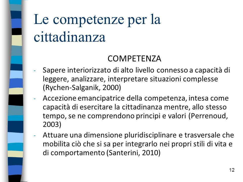 12 Le competenze per la cittadinanza COMPETENZA - Sapere interiorizzato di alto livello connesso a capacità di leggere, analizzare, interpretare situazioni complesse (Rychen-Salganik, 2000) - Accezione emancipatrice della competenza, intesa come capacità di esercitare la cittadinanza mentre, allo stesso tempo, se ne comprendono principi e valori (Perrenoud, 2003) - Attuare una dimensione pluridisciplinare e trasversale che mobilita ciò che si sa per integrarlo nei propri stili di vita e di comportamento (Santerini, 2010)