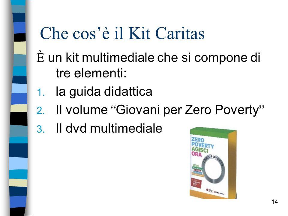14 Che cosè il Kit Caritas È un kit multimediale che si compone di tre elementi: 1. la guida didattica 2. Il volume Giovani per Zero Poverty 3. Il dvd