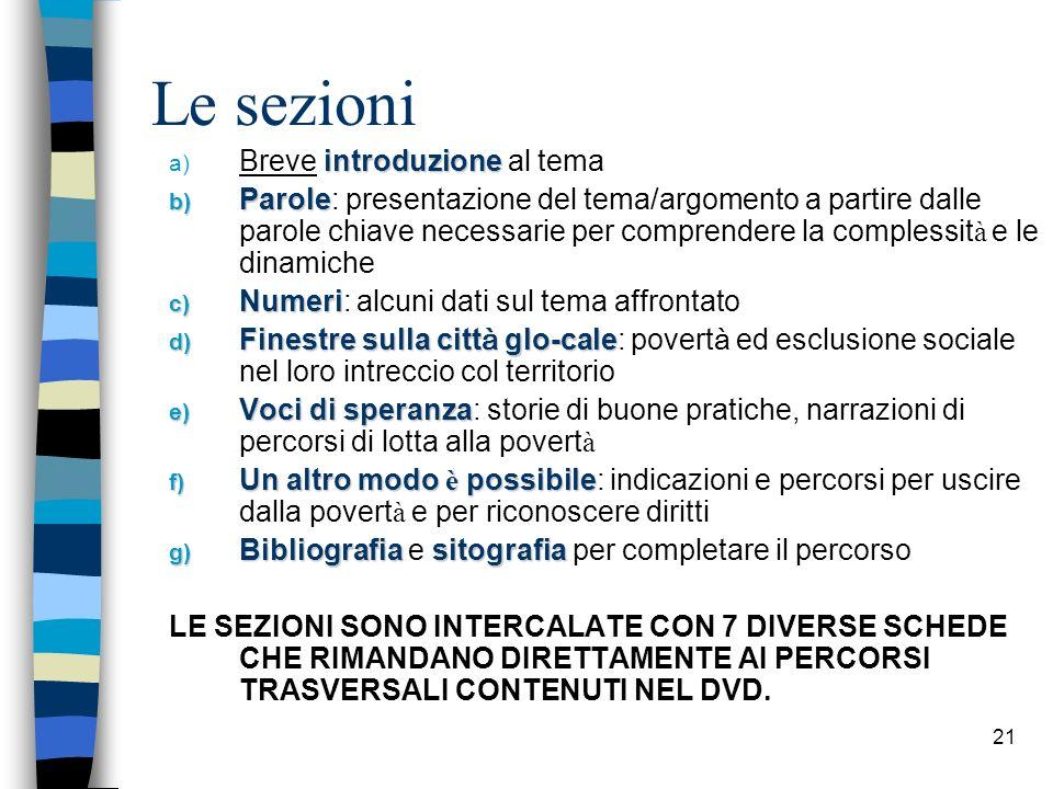 21 Le sezioni introduzione a) Breve introduzione al tema b) Parole b) Parole: presentazione del tema/argomento a partire dalle parole chiave necessari