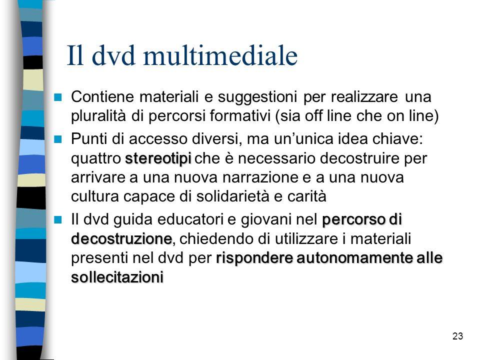 23 Il dvd multimediale Contiene materiali e suggestioni per realizzare una pluralit à di percorsi formativi (sia off line che on line) stereotipi Punt