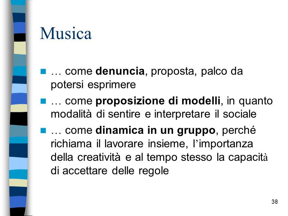 38 Musica … come denuncia, proposta, palco da potersi esprimere … come proposizione di modelli, in quanto modalit à di sentire e interpretare il socia