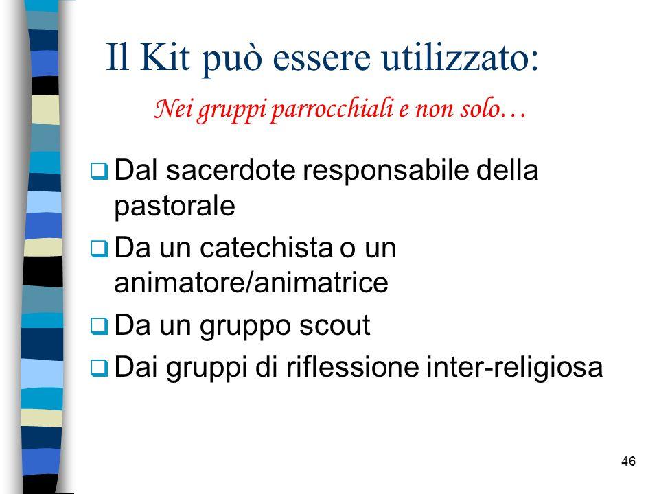 46 Il Kit può essere utilizzato: Dal sacerdote responsabile della pastorale Da un catechista o un animatore/animatrice Da un gruppo scout Dai gruppi d