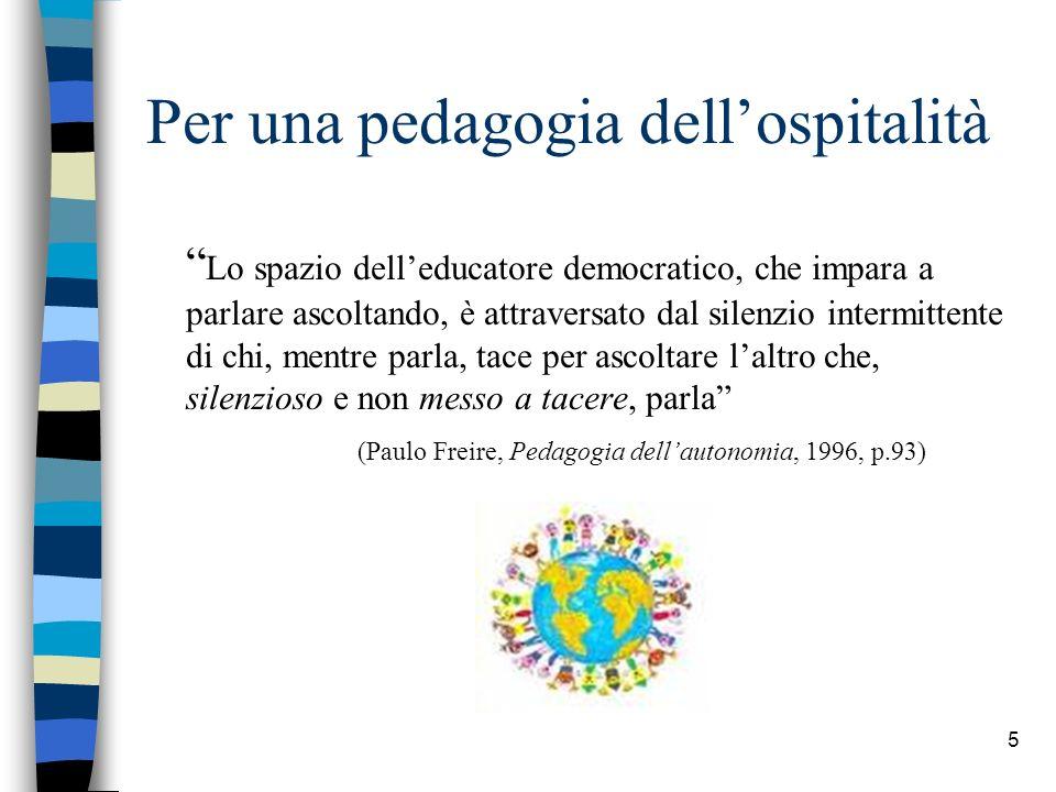 5 Per una pedagogia dellospitalità Lo spazio delleducatore democratico, che impara a parlare ascoltando, è attraversato dal silenzio intermittente di