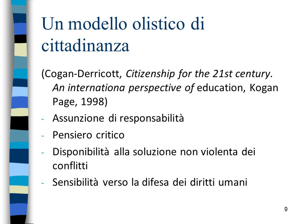 9 Un modello olistico di cittadinanza (Cogan-Derricott, Citizenship for the 21st century.