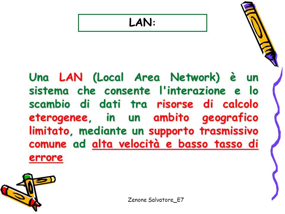 Zenone Salvatore_E7 LAN : Una LAN (Local Area Network) è un sistema che consente l'interazione e lo scambio di dati tra risorse di calcolo eterogenee,