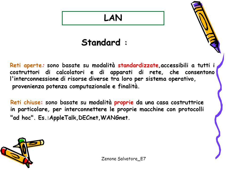 Zenone Salvatore_E7 LAN Reti aperte modalità standardizzate,accessibili a tutti i costruttori di calcolatori e di apparati di rete, che consentono l'i