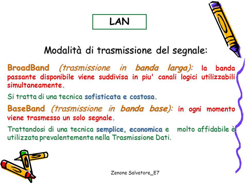 Zenone Salvatore_E7 Modalità di trasmissione del segnale: LAN BroadBand (trasmissione in banda larga): BroadBand (trasmissione in banda larga): la ban