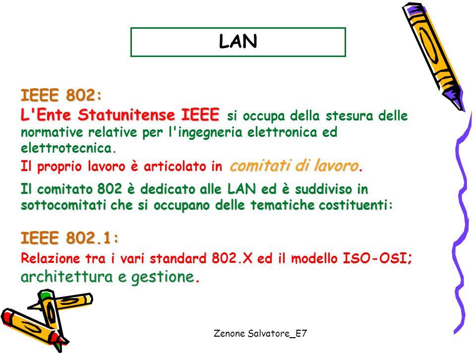 Zenone Salvatore_E7 LAN IEEE 802: L'Ente Statunitense IEEE L'Ente Statunitense IEEE si occupa della stesura delle normative relative per l'ingegneria