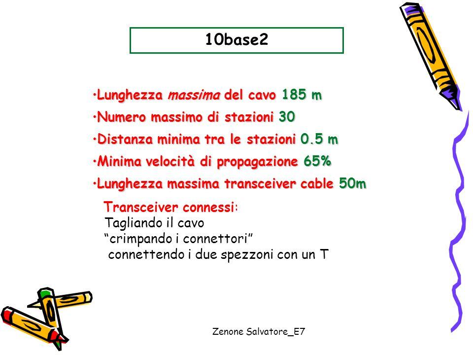 Zenone Salvatore_E7 10base2 Lunghezza massima del cavo 185 mLunghezza massima del cavo 185 m Numero massimo di stazioni 30Numero massimo di stazioni 3