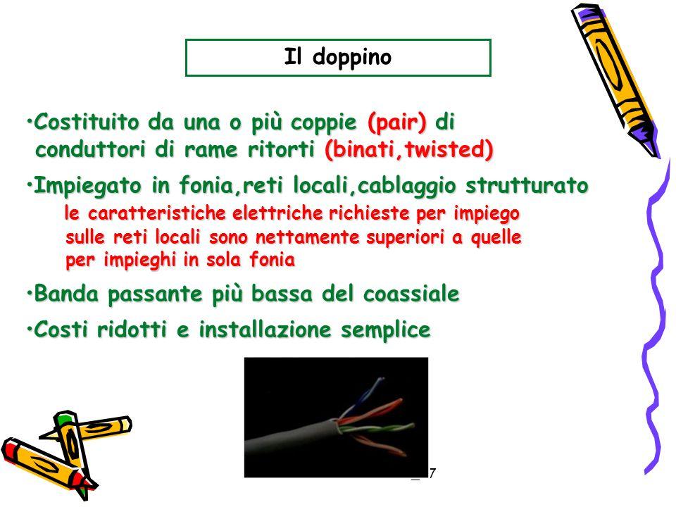 Zenone Salvatore_E7 Il doppino Costituito da una o più coppie (pair) diCostituito da una o più coppie (pair) di conduttori di rame ritorti (binati,twi