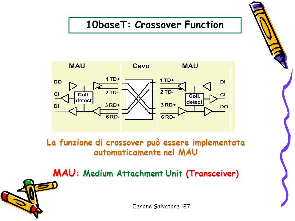 Zenone Salvatore_E7 10baseT: Crossover Function La funzione di crossover può essere implementata automaticamente nel MAU MAU : Medium Attachment Unit
