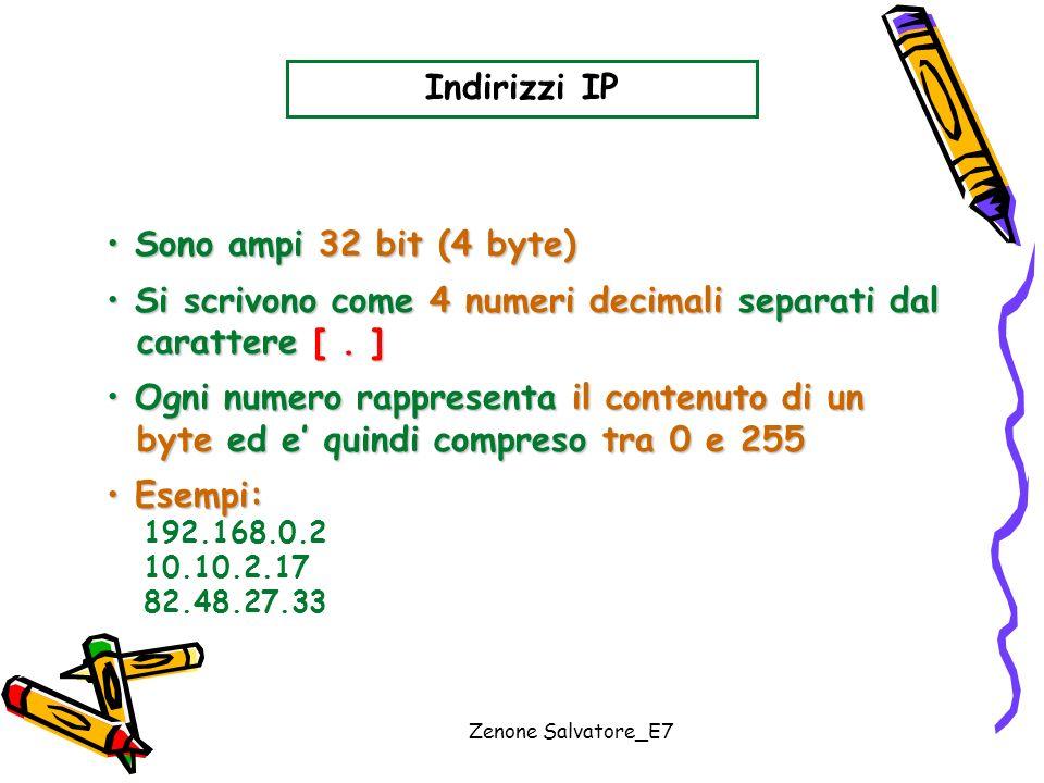 Zenone Salvatore_E7 Indirizzi IP Sono ampi 32 bit (4 byte) Sono ampi 32 bit (4 byte) Si scrivono come 4 numeri decimali separati dal Si scrivono come