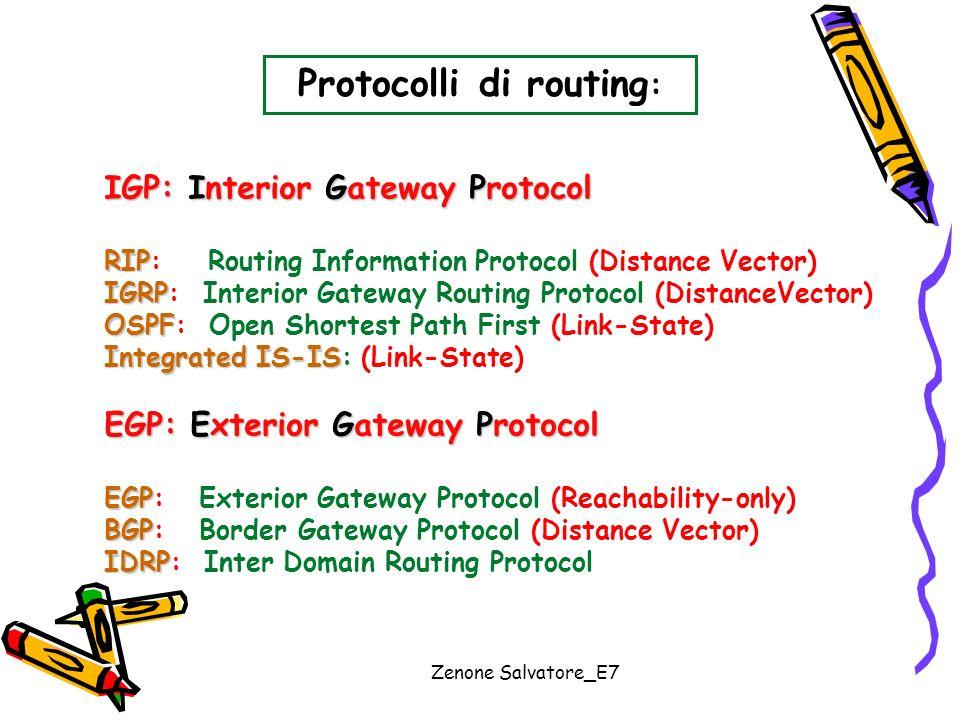 Zenone Salvatore_E7 Protocolli di routing : IGP: Interior Gateway Protocol RIP RIP: Routing Information Protocol (Distance Vector) IGRP IGRP: Interior