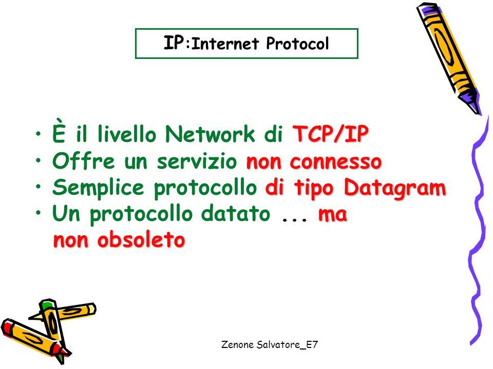 Zenone Salvatore_E7 IP :Internet Protocol TCP/IP È il livello Network di TCP/IP non connesso Offre un servizio non connesso di tipo Datagram Semplice