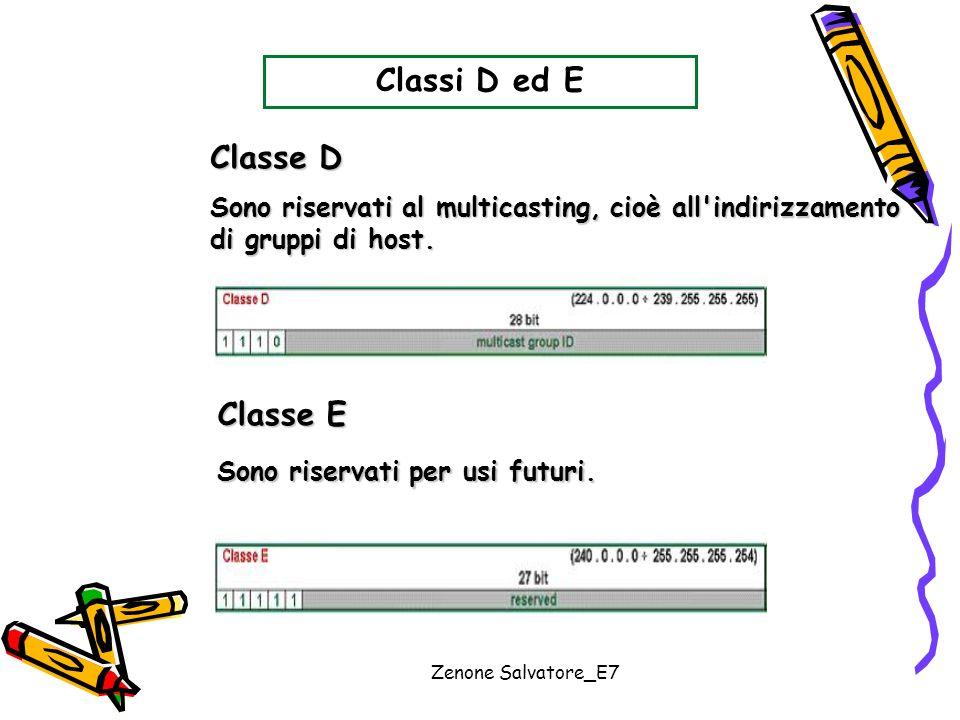 Zenone Salvatore_E7 Classi D ed E Classe D Classe E Sono riservati al multicasting, cioè all'indirizzamento di gruppi di host. Sono riservati per usi