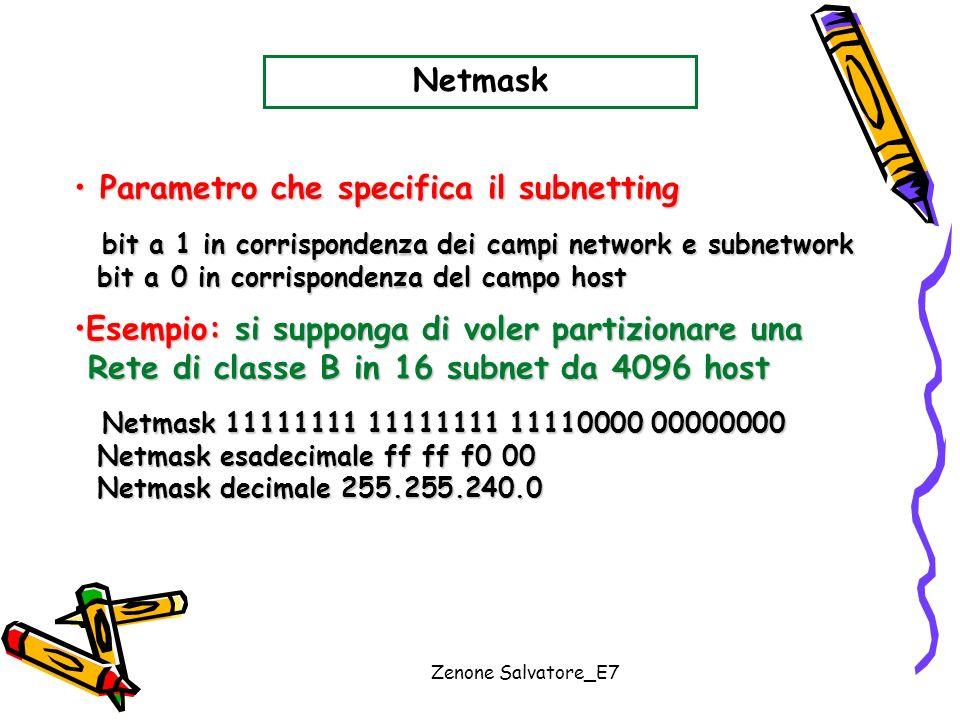 Zenone Salvatore_E7 Netmask Parametro che specifica il subnetting Parametro che specifica il subnetting bit a 1 in corrispondenza dei campi network e