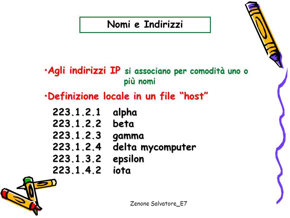 Zenone Salvatore_E7 Nomi e Indirizzi Agli indirizzi IP si associano per comodità uno oAgli indirizzi IP si associano per comodità uno o più nomi più n
