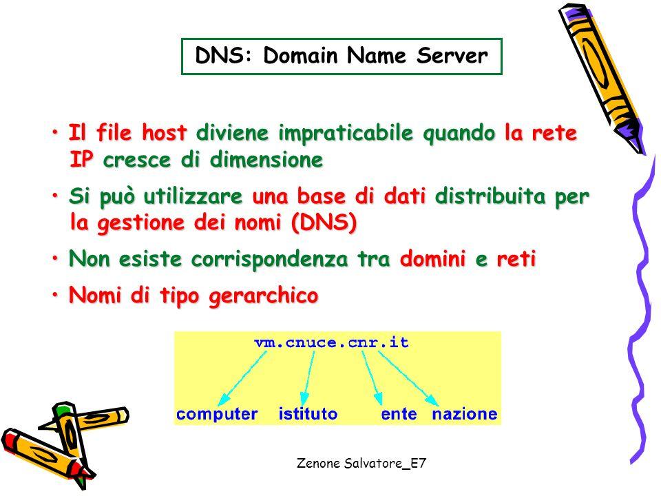Zenone Salvatore_E7 DNS: Domain Name Server Il file host diviene impraticabile quando la rete Il file host diviene impraticabile quando la rete IP cre