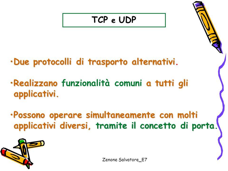 Zenone Salvatore_E7 TCP e UDP Due protocolli di trasporto alternativiDue protocolli di trasporto alternativi. Realizzano a tutti gliRealizzano funzion
