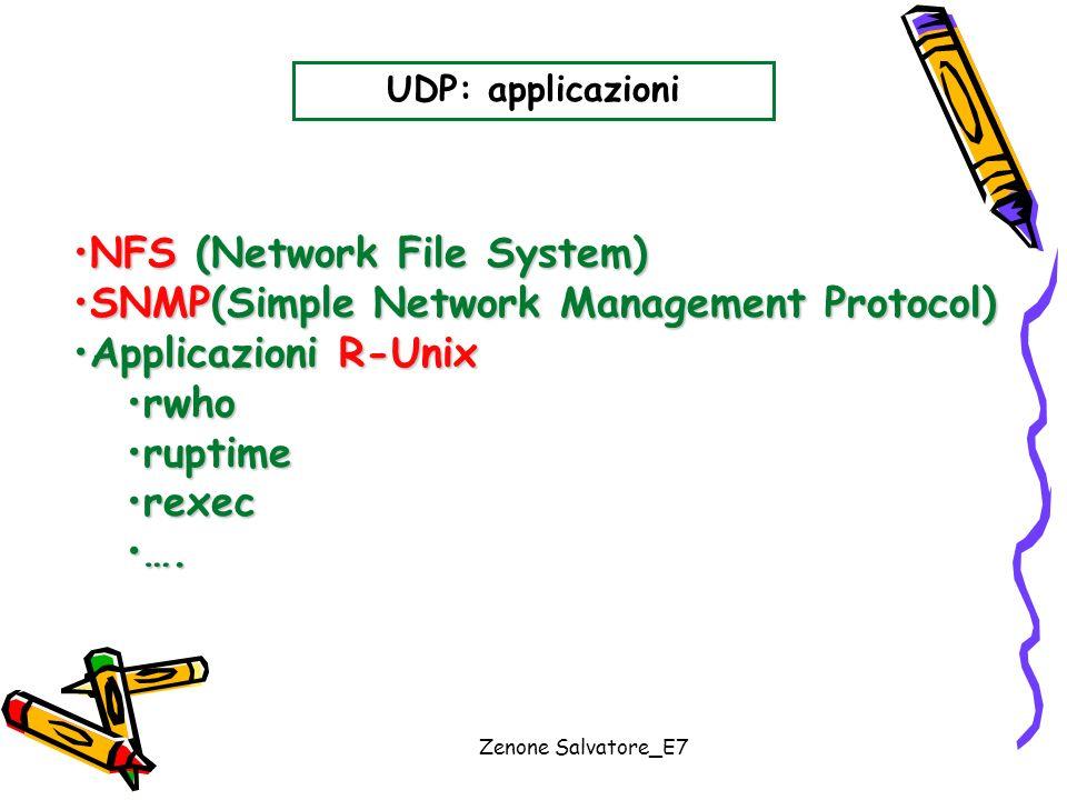 Zenone Salvatore_E7 UDP: applicazioni NFS (Network File System)NFS (Network File System) SNMP(Simple Network Management Protocol)SNMP(Simple Network M