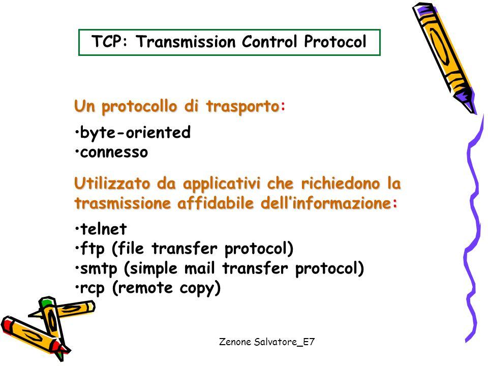 Zenone Salvatore_E7 TCP: Transmission Control Protocol Un protocollo di trasporto Un protocollo di trasporto: byte-oriented connesso Utilizzato da app