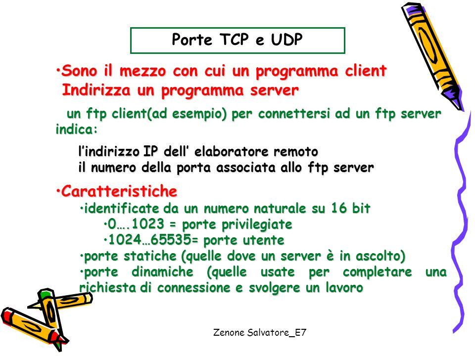 Zenone Salvatore_E7 Porte TCP e UDP Sono il mezzo con cui un programma clientSono il mezzo con cui un programma client Indirizza un programma server I