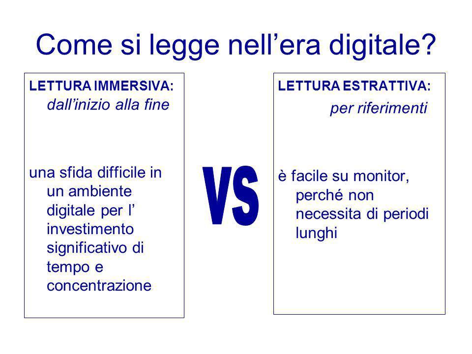 Come si legge nellera digitale? LETTURA IMMERSIVA: dallinizio alla fine una sfida difficile in un ambiente digitale per l investimento significativo d