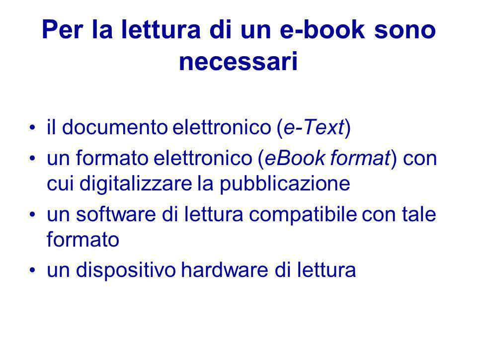 Per la lettura di un e-book sono necessari il documento elettronico (e-Text) un formato elettronico (eBook format) con cui digitalizzare la pubblicazione un software di lettura compatibile con tale formato un dispositivo hardware di lettura