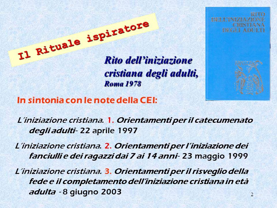 3 Servizio Nazionale per il Catecumenato Guida per litinerario catecumenale dei ragazzi Elledici, Leumann (To) 2001 G.