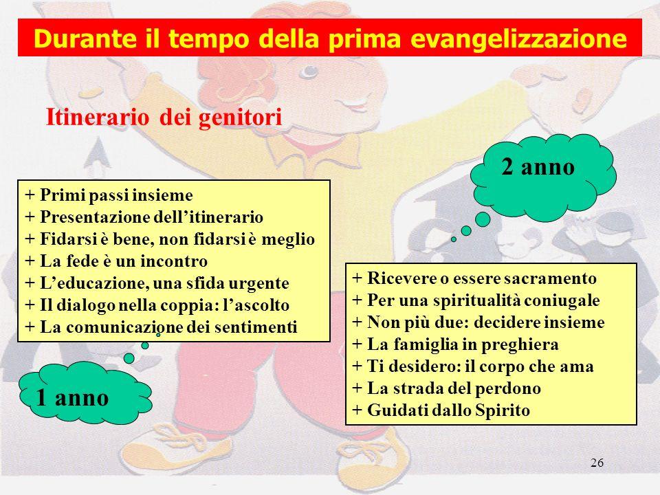 26 Durante il tempo della prima evangelizzazione + Primi passi insieme + Presentazione dellitinerario + Fidarsi è bene, non fidarsi è meglio + La fede