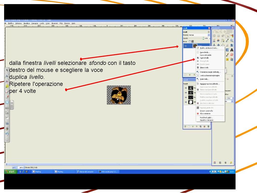 dalla finestra livelli selezionare sfondo con il tasto destro del mouse e scegliere la voce duplica livello.