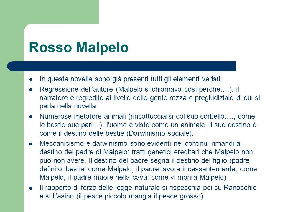 Rosso Malpelo In questa novella sono già presenti tutti gli elementi veristi: Regressione dellautore (Malpelo si chiamava così perché….): il narratore