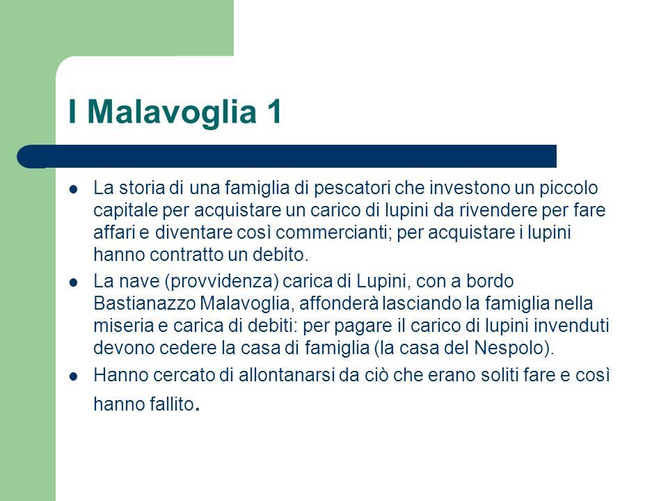 I Malavoglia 1 La storia di una famiglia di pescatori che investono un piccolo capitale per acquistare un carico di lupini da rivendere per fare affar