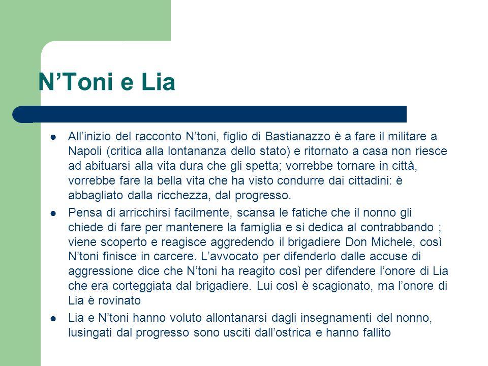 NToni e Lia Allinizio del racconto Ntoni, figlio di Bastianazzo è a fare il militare a Napoli (critica alla lontananza dello stato) e ritornato a casa
