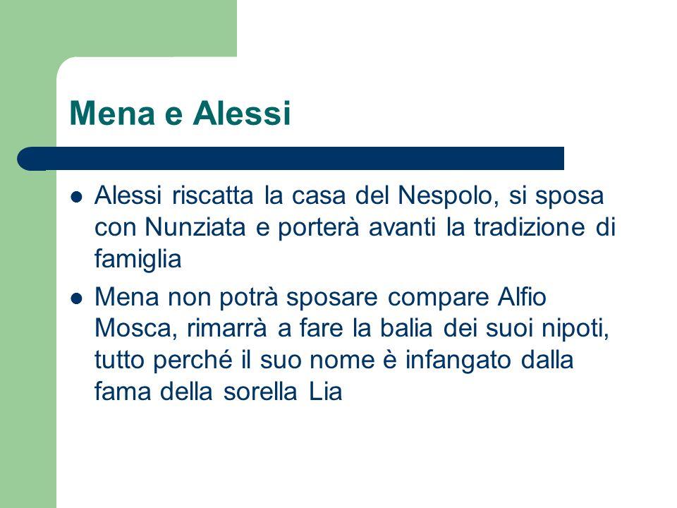 Mena e Alessi Alessi riscatta la casa del Nespolo, si sposa con Nunziata e porterà avanti la tradizione di famiglia Mena non potrà sposare compare Alf