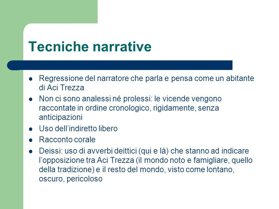 Tecniche narrative Regressione del narratore che parla e pensa come un abitante di Aci Trezza Non ci sono analessi né prolessi: le vicende vengono rac