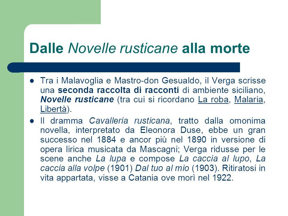 Dalle Novelle rusticane alla morte Tra i Malavoglia e Mastro-don Gesualdo, il Verga scrisse una seconda raccolta di racconti di ambiente siciliano, No