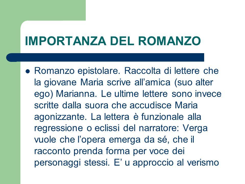 IMPORTANZA DEL ROMANZO Romanzo epistolare. Raccolta di lettere che la giovane Maria scrive allamica (suo alter ego) Marianna. Le ultime lettere sono i