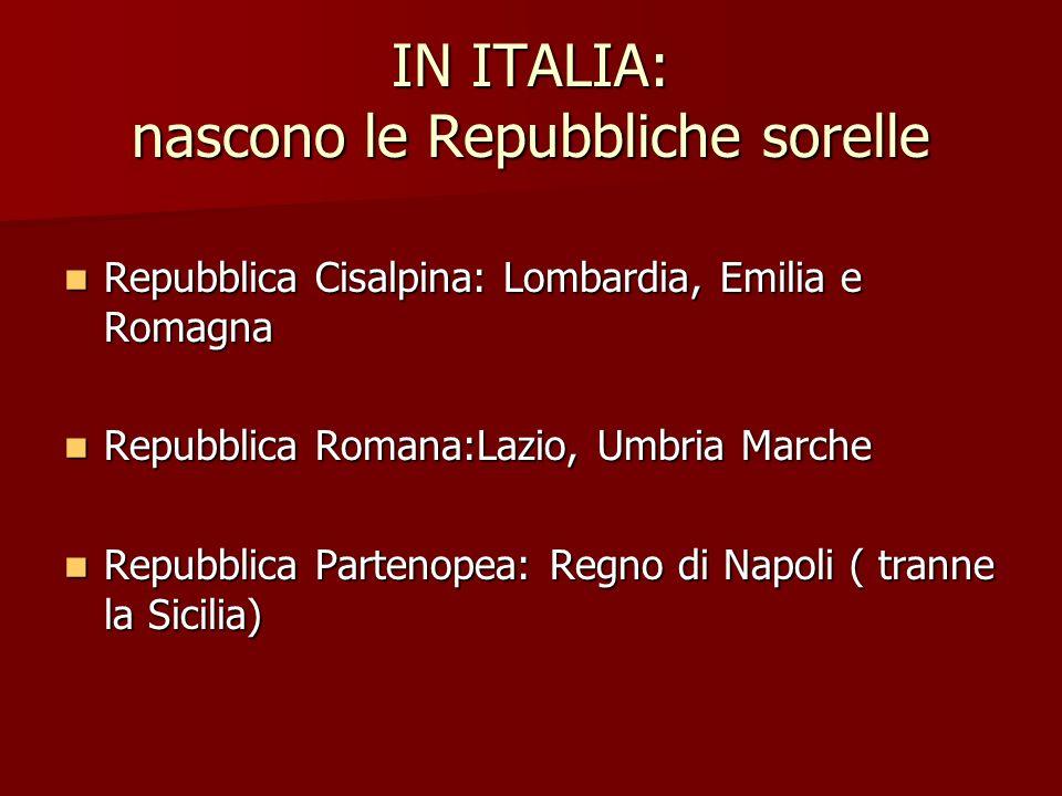 IN ITALIA: nascono le Repubbliche sorelle Repubblica Cisalpina: Lombardia, Emilia e Romagna Repubblica Cisalpina: Lombardia, Emilia e Romagna Repubbli
