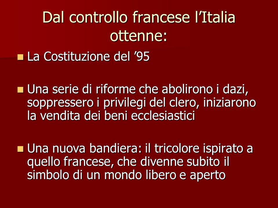 Dal controllo francese lItalia ottenne: La Costituzione del 95 La Costituzione del 95 Una serie di riforme che abolirono i dazi, soppressero i privile