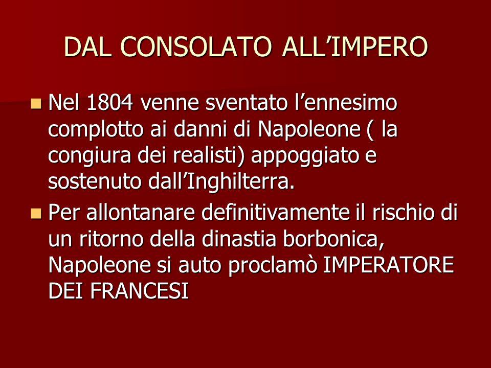 DAL CONSOLATO ALLIMPERO Nel 1804 venne sventato lennesimo complotto ai danni di Napoleone ( la congiura dei realisti) appoggiato e sostenuto dallInghilterra.