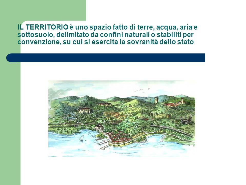 IL TERRITORIO è uno spazio fatto di terre, acqua, aria e sottosuolo, delimitato da confini naturali o stabiliti per convenzione, su cui si esercita la